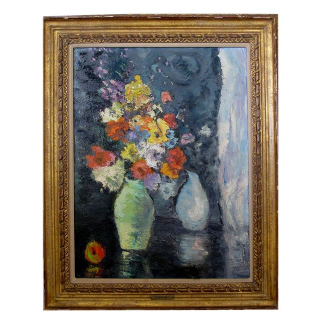 An Impressionist Still Life of Flowers w/ Fruit; Probably American - Image 1 of 5