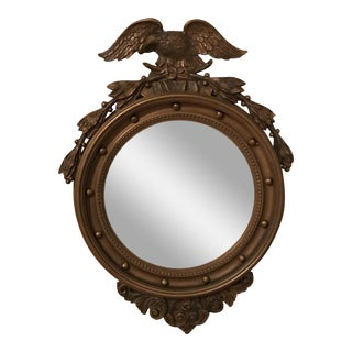 20th Century Composite Convex Bullseye Mirror With Eagle