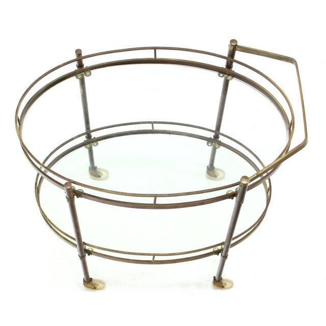 Mid-Century Modern Oval Two-Tier Brass Tea Cart or Serving Table For Sale - Image 3 of 6