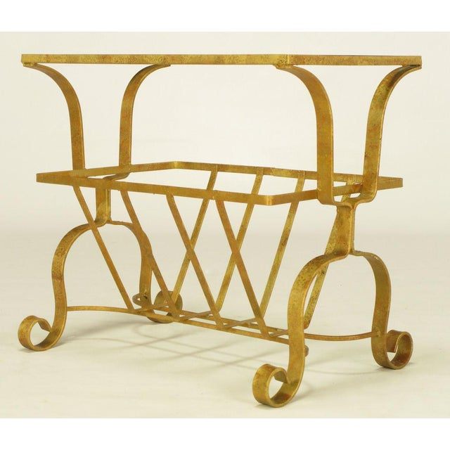 Gilt Iron & Glass Side Table With Magazine Caddy. - Image 3 of 6
