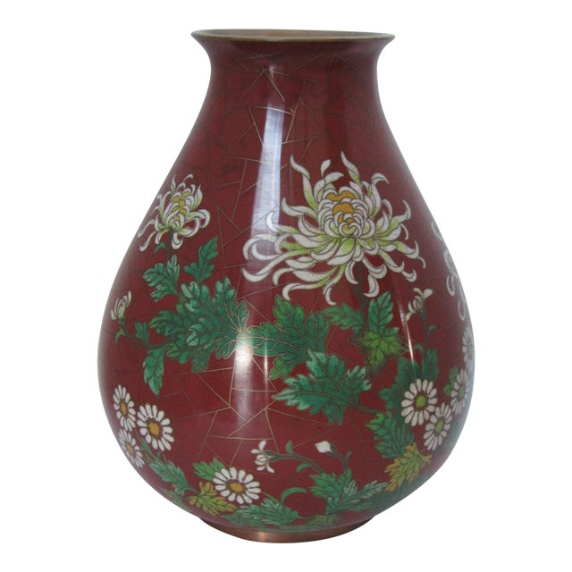 Vintage Cloisonné Vase with Flowers - Image 1 of 6