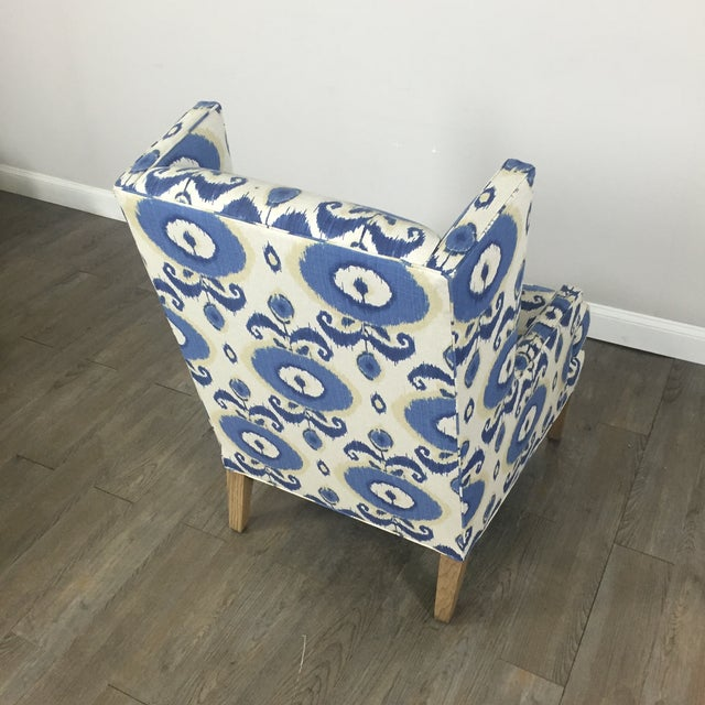 Crate & Barrel Patterned Wingback Chair - Image 9 of 10