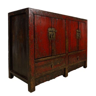 Antique Chinese Red Lacquered Sideboard Preview
