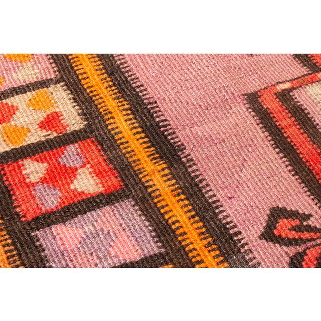 Vintage Mid-Century Geometric Wool Kilim Runner - 5′1″ × 14′9″ For Sale In New York - Image 6 of 8