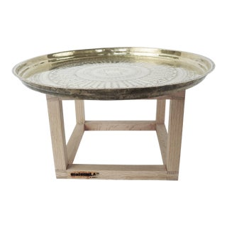 Modern Brass and Copper Tea Accent Table For Sale