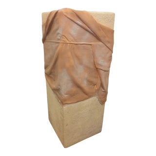 1990s Hollywood Regency John Dickinson Draped Plaster Pedestal For Sale
