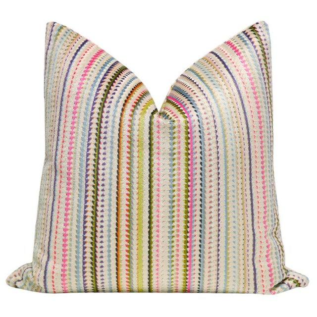 "22"" Multicolor Cut Velvet Pillow Cover - Image 5 of 5"
