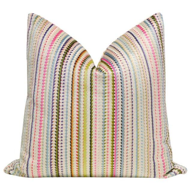 "2010s 22"" Multicolor Cut Velvet Pillow Cover For Sale - Image 5 of 5"