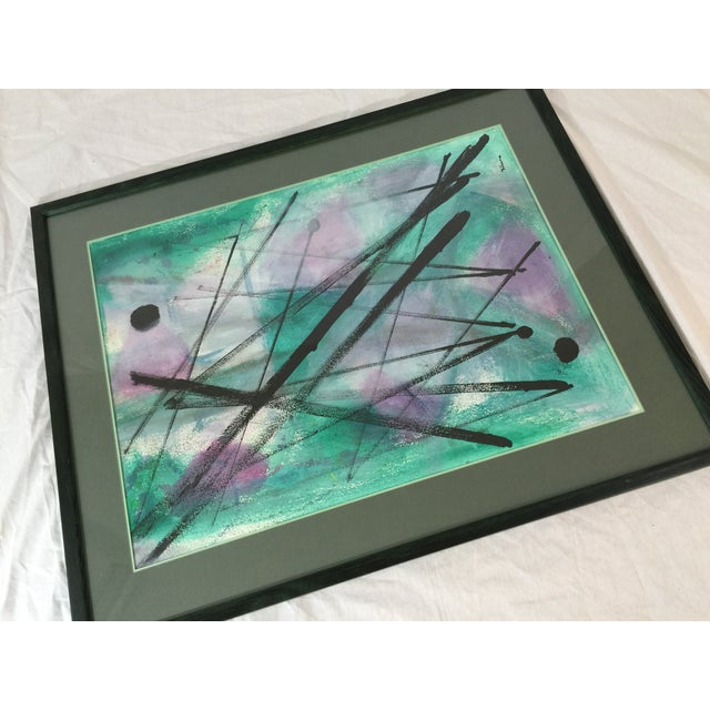 """L. Rhana - """"Untitled"""" Abstract Turquoise Painting - Image 3 of 6"""