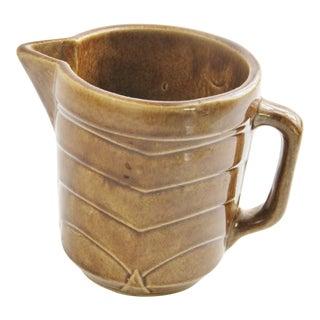 Vintage Us Pottery Brown Glaze Stoneware Pitcher For Sale