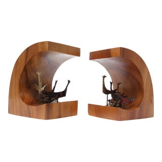 Vintage Brutalist Bird Bookends / Sculptures - A Pair For Sale