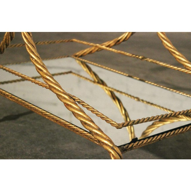Vintage Italian Gilt Twisted Rope Tiered Bar Cart - Image 2 of 7