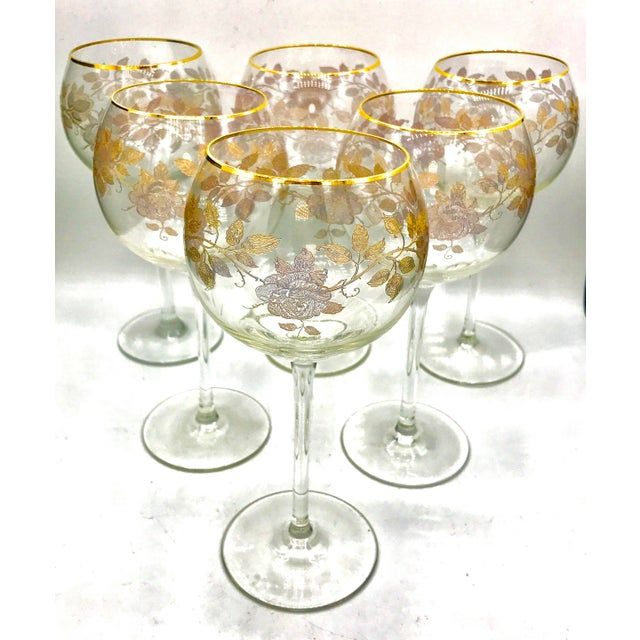 Early 20th Century Antique French Baccarat Gold Encrusted Needle Etch Crystal Hock Glasses- Set of 6 For Sale - Image 13 of 13