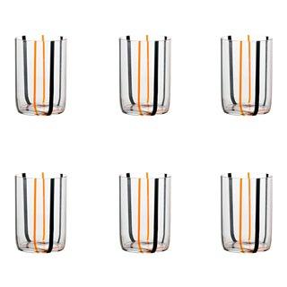 Tirache Tumbler in Black & Orange - Set of 6 For Sale