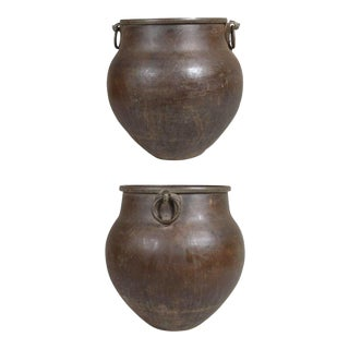 Large South Indian Hammered Brass Water Storage Pots - a Pair For Sale