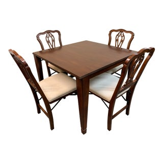 Frontgate Chippendale Folding Table + Four Chair Set For Sale
