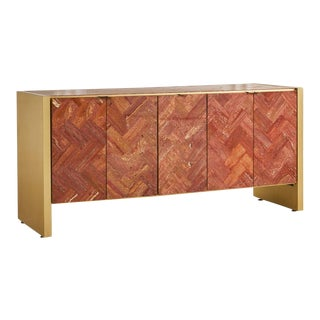 Travertine and Brass Credenza by Ello For Sale