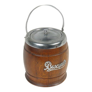 Early 20th Century English Biscuit Cannister For Sale