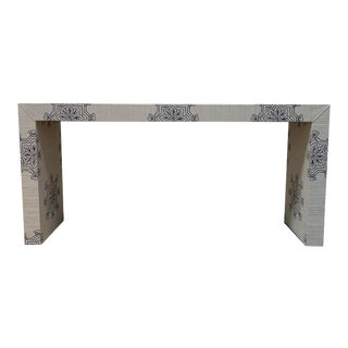 Grasscloth Waterfall Console Table For Sale