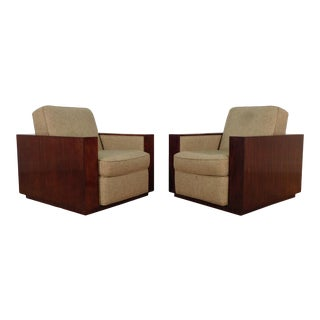Henredon Ralph Lauren Rosewood Metropolis Collection Club Tub Deck Chairs- A Pair For Sale