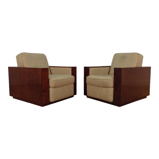 Henredon Ralph Lauren Rosewood Metropolis Collection Club Tub Deck Chairs- A Pair For Sale