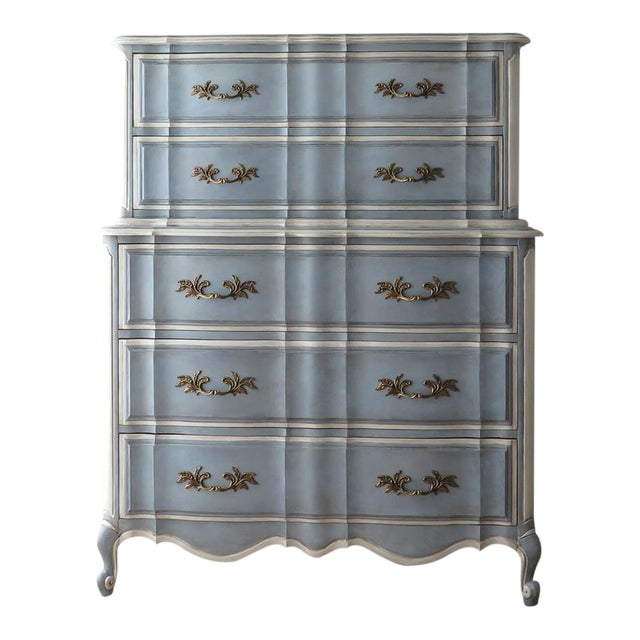 French Provincial Painted Highboy For Sale