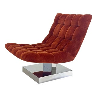 Milo Baughman Scoop Chair on Chrome Base For Sale