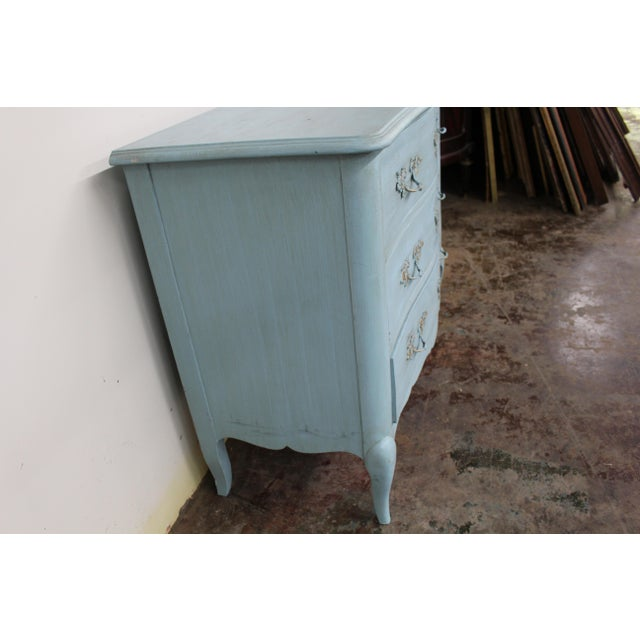 20th Century Vintage Painted Blue Commode For Sale - Image 4 of 9