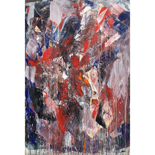Monumental Abstract Oil on Canvas Signed Dehais For Sale