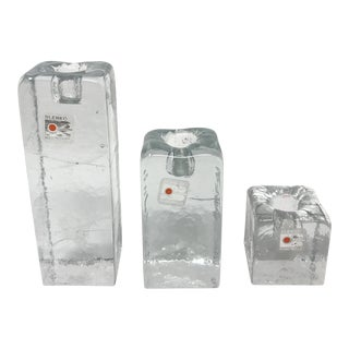 Blenko Glass Ice Cube Candlesticks - Set of 3 For Sale