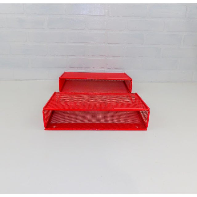 Vintage Red Metal Wall Mounted Organizer Mail Sorter Letter Holder For Sale - Image 5 of 9