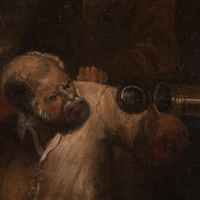 19th Century Antique Original Men Drinking in a Tavern French Oil Painting For Sale - Image 4 of 7