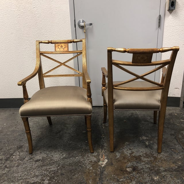 Louis XVI Gold Leaf Gray Silk Upholstered Armchairs - a Pair For Sale In San Francisco - Image 6 of 13