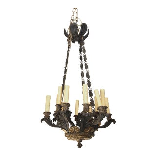 19th Century French Bronze Empire Chandelier For Sale