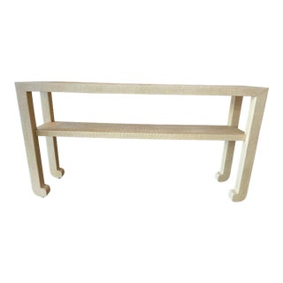 Natural Grasscloth Console For Sale