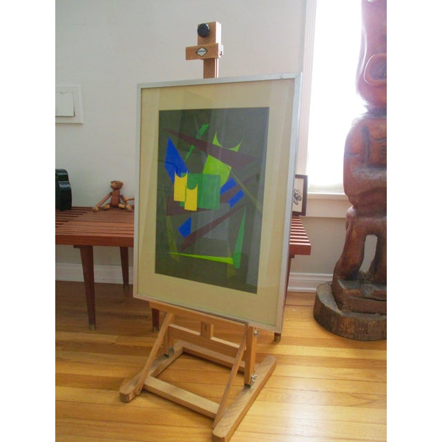Abstract Geometric Acrylic Painting - Image 5 of 10