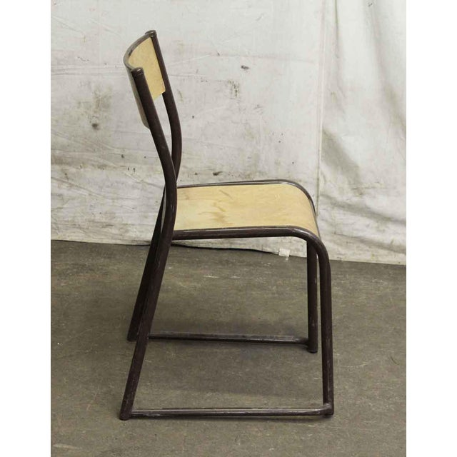 Belgian Imported Brown Steel & Wood School Chair For Sale - Image 3 of 4
