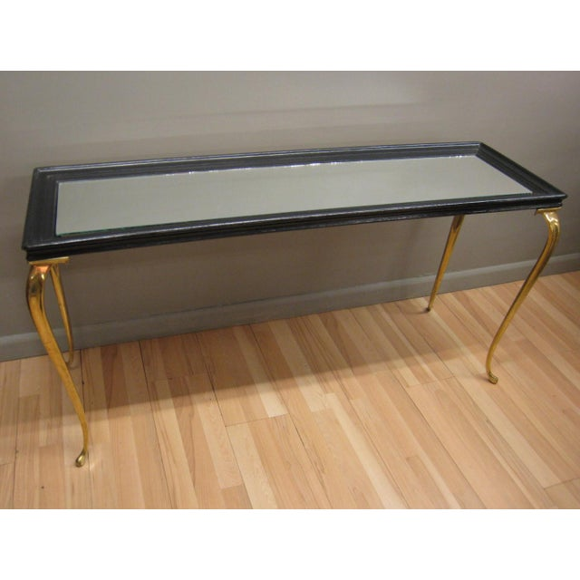 Brandt Solid Brass and Black Mirrored Console - Image 2 of 11