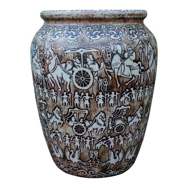 Chinese Oriental Stone Carved Planter For Sale