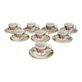 1980s Villeroy & Boch Amapola Cup & Saucers - Set of 8 For Sale