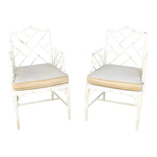 Hollywood Regency Chinoiserie Faux Bamboo Cane Chairs - a Pair For Sale