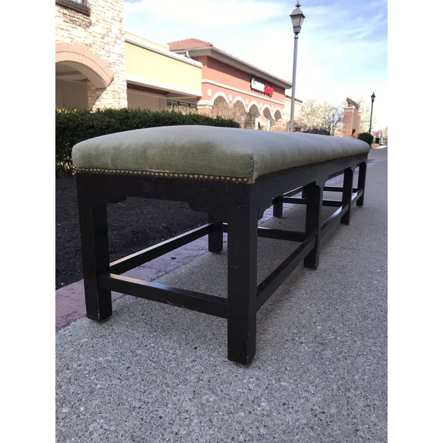 7' Long solid mahogany wood bench covered in a celery green velvet with French natural nail head. Bench is in great user...