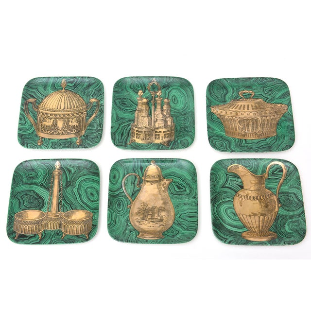 Set of 6 Mid Century Italian Piero Fornasetti Porcelain/Gold Stovigle Plates For Sale - Image 11 of 11
