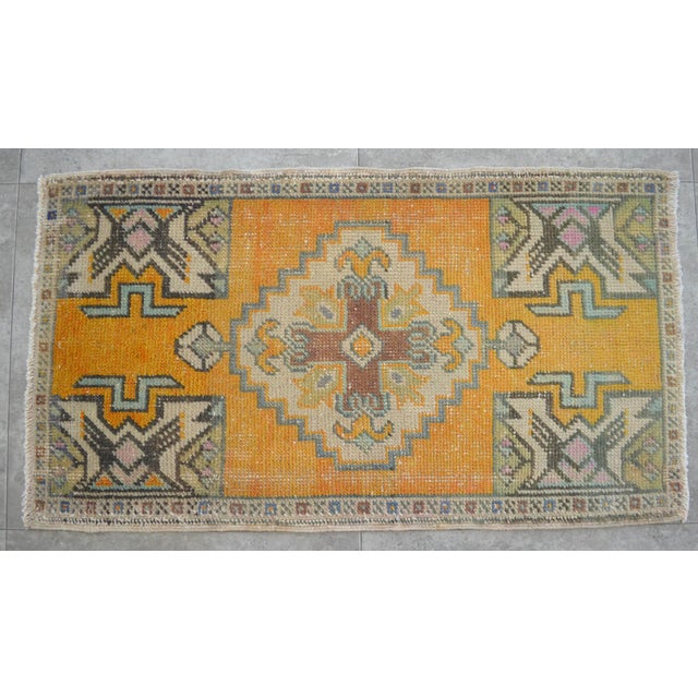 Distressed Rug Low Pile Hand Knotted Yastik Rug Faded Mat- 20'' X 36'' For Sale - Image 4 of 4