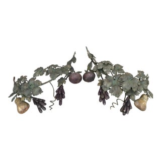 Wrought Iron Fruit and Leaf Fragments - A Pair
