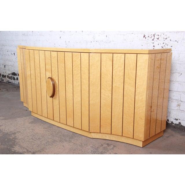 Italian Modern Art Deco Birdseye Maple Sideboard Credenza Bar Cabinet