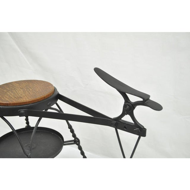 Antique Twisted Wrought Iron Shoe Shine Bench Oak Seat With Foot Rest Stool For Sale - Image 4 of 11