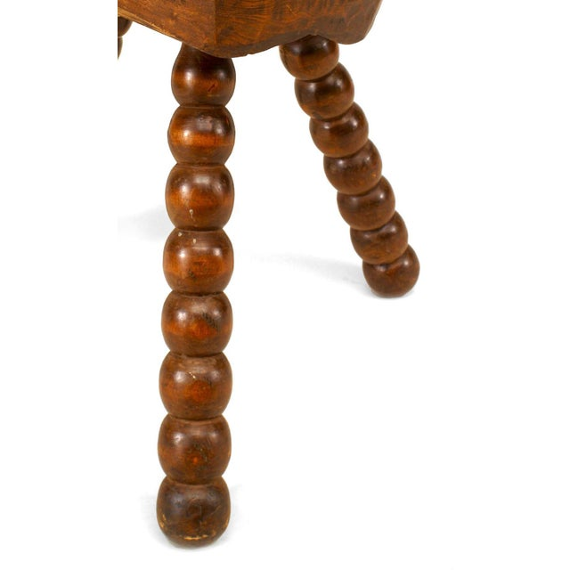 Renaissance Turn-Of-The-Century English Renaissance Style Walnut Stool For Sale - Image 3 of 4