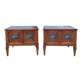 A Pair- Mid Century Heritage Furniture Walnut Side Tables For Sale