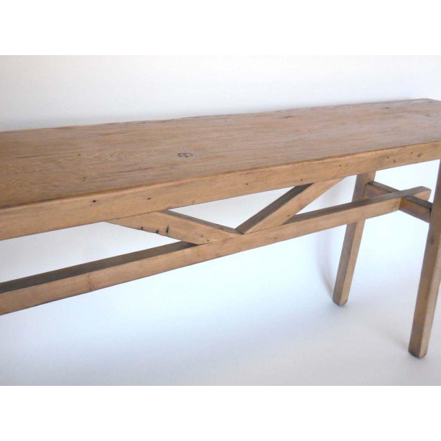 Reclaimed Douglas fir console in a Latte finish with light open grain. Can be made in any size and the bottom stretcher...